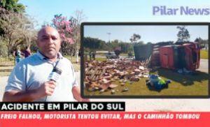 Caminhão carregado de leite tomba na rotatória de Pilar do Sul