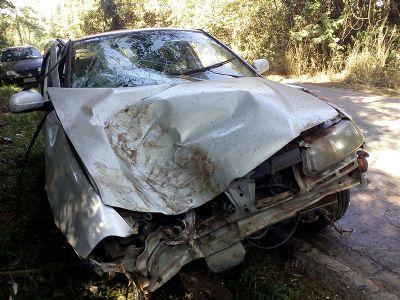 Motorista fica ferido em capotamento na vicinal SPV-093