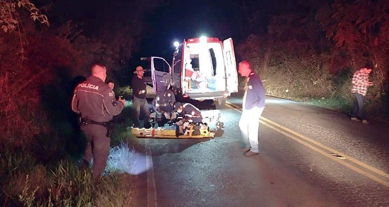 Suspeito em fuga com motocicleta furtada sofre acidente na SPV-093