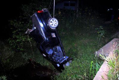 Casal fica ferido após veículo cair dentro de córrego