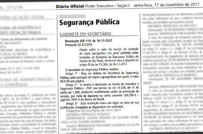 Alckmin institui cobrança por cópia de boletins de ocorrência em todo o estado