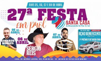 Sérgio Reis será a principal atração da festa da Santa Casa em Pilar do Sul