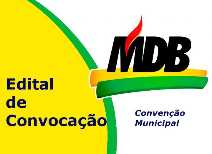 Movimento Democrático Brasileiro (MDB) convoca filiados para Convenção Municipal