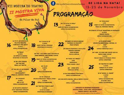 Acontece de 13 a 25 de novembro a II Mostra Viva e VII Mostra de Teatro de Pilar do Sul
