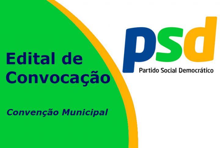 Partido Social Democrático (PSD) convoca filiados para Convenção Municipal
