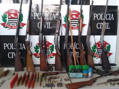 Polícia Civil encontra arsenal e prende homem em sitio de Pilar do Sul