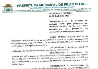 Novo decreto municipal recomenda o uso de máscaras em Pilar do Sul