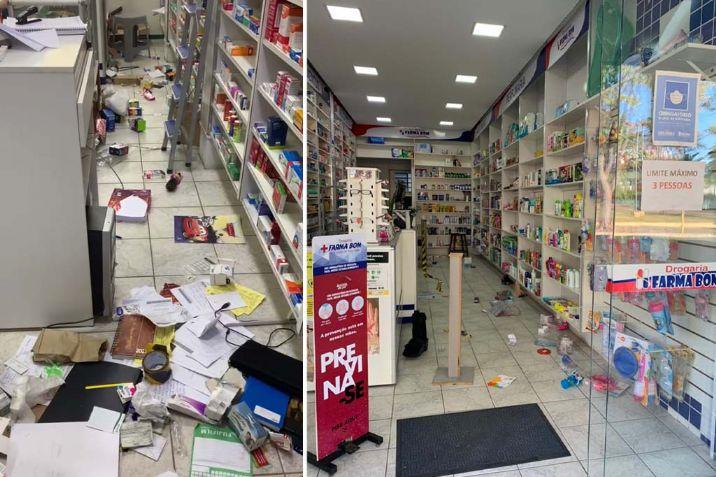 Ladrões invadem e fazem 'a limpa' em farmácia no centro