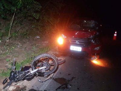 Motociclista fica ferido em acidente nas curvas da vicinal SPV-093